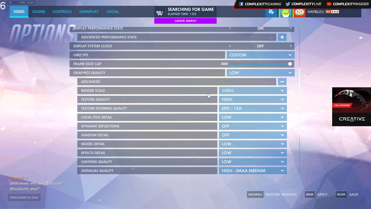 harbleu's overwatch game settings - Twitch
