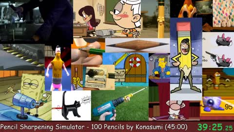 Pencil Sharpening Simulator - 100 Pencils with Konasumi   Memeathon X