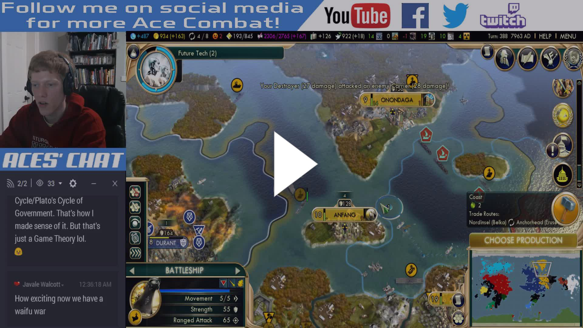 Casual CiV 5 Match (Strangereal Mod) and Ace Combat