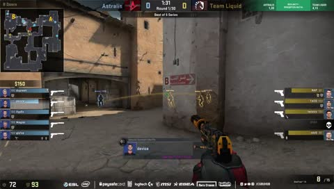 dupreeh taps down three in the first pistol round (Dust2)