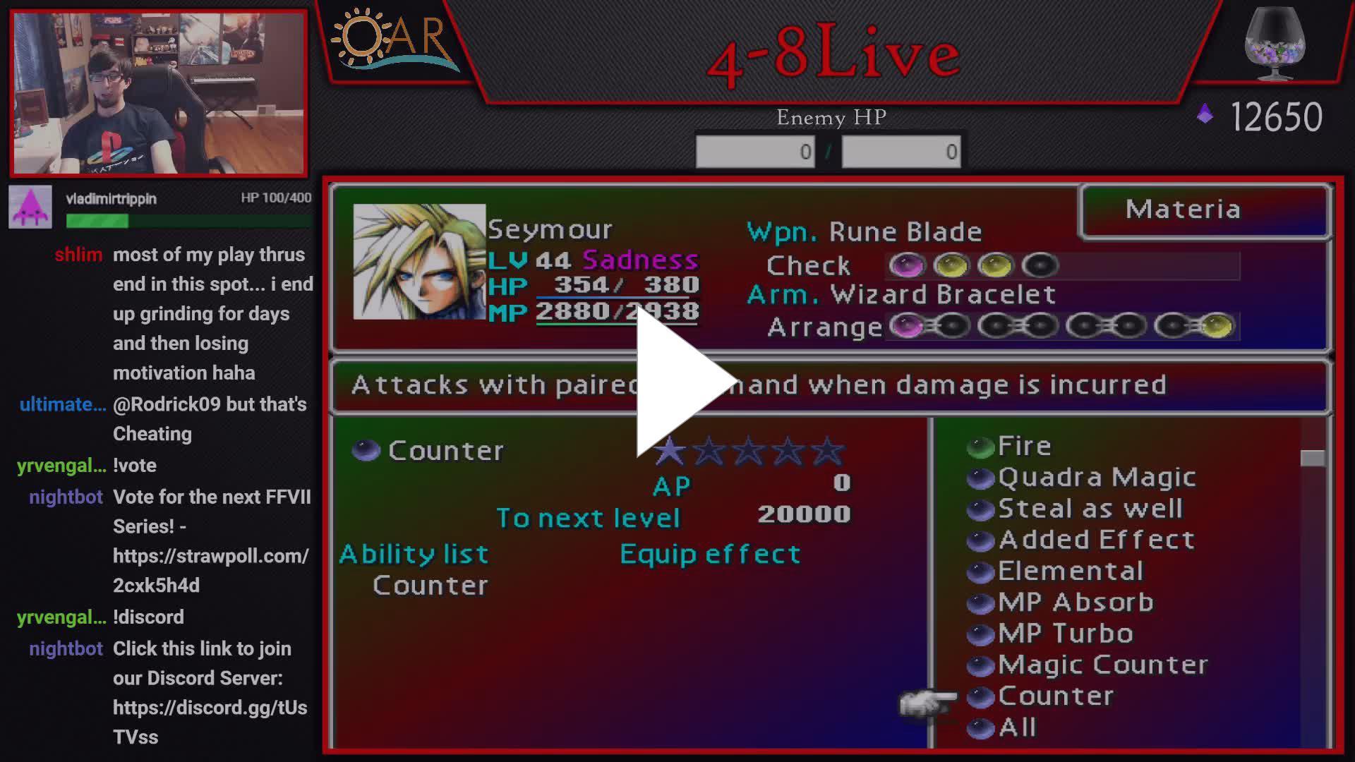 death_unites_us - Final Fantasy VII HP to MP Challenge