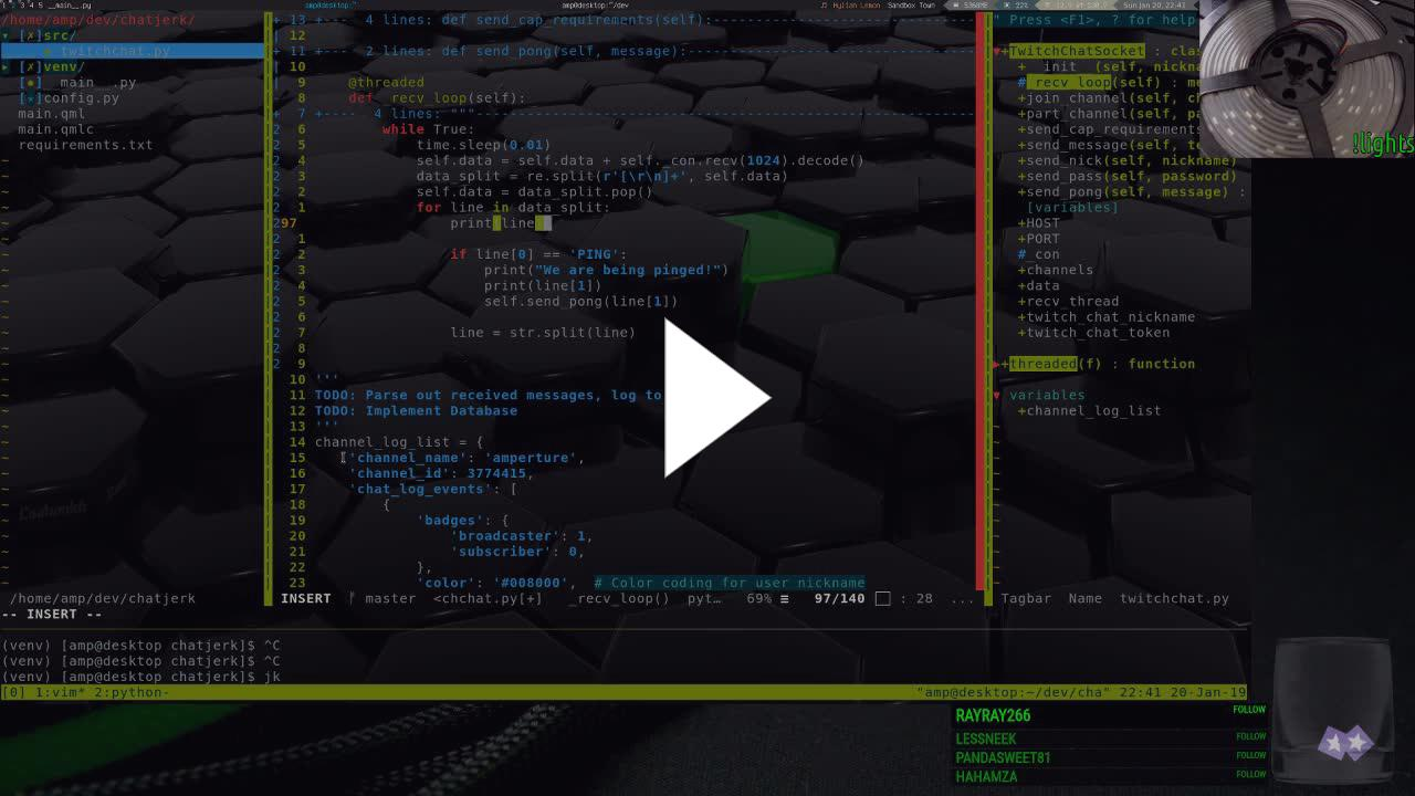 Amperture - Python + QML + Twitch Chat = ChatJerk? - Twitch