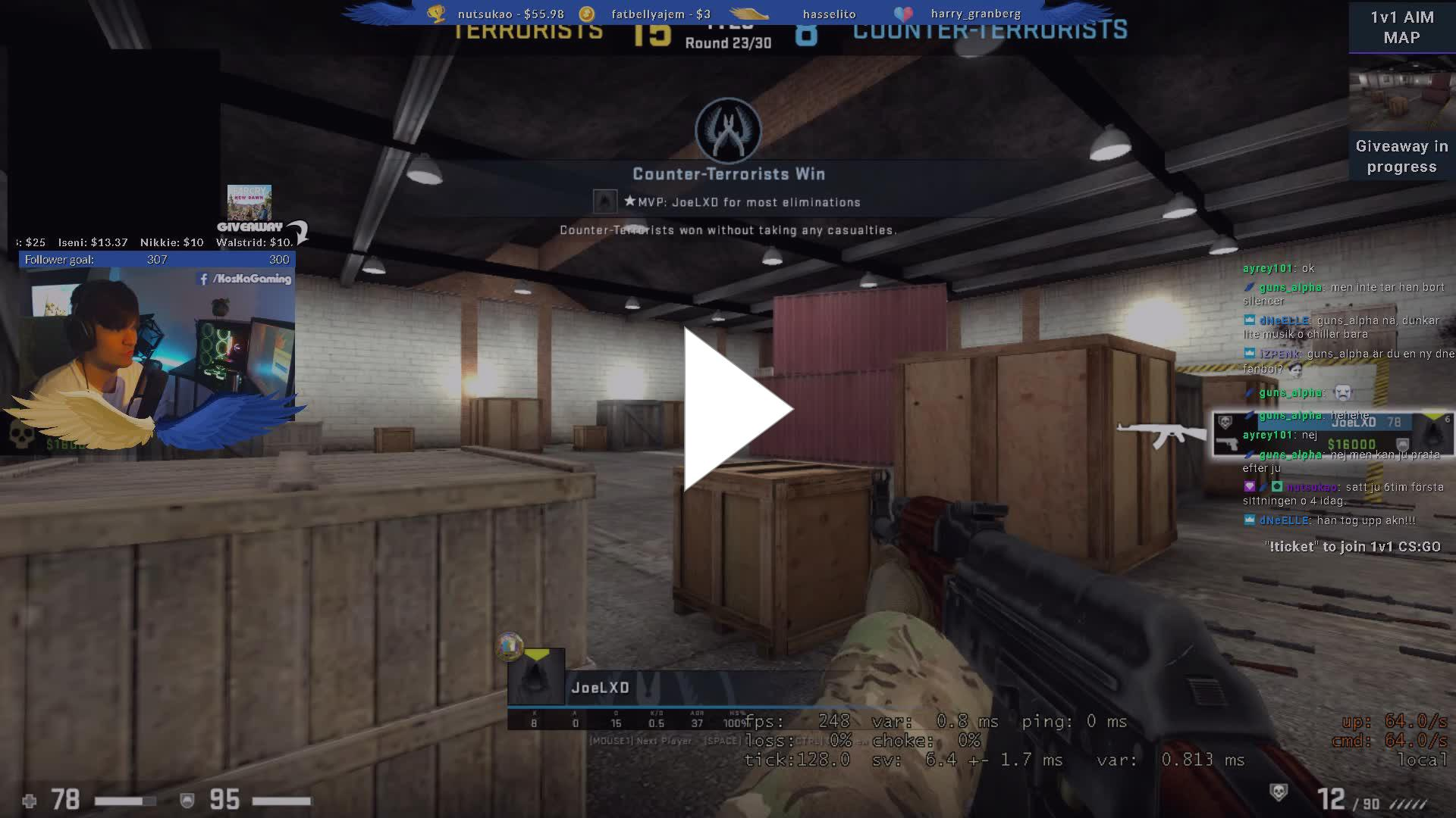 KosKaGaming - 1v1 Aim map turnering med viewers !commands
