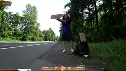 Crossdressing + Hitchhiking.. Thanks Mahcahwaca and chat, you did this !crossdress