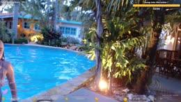 Stream at the pool :D Aruba Caribbean 🦩 I instagram: melina.goransson