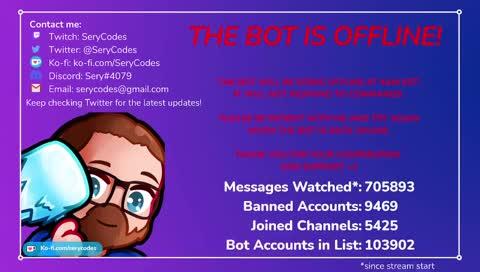 Welcome to Sery_Bot! ✦ !whatisthis ✦ !socials ✦ !kofi