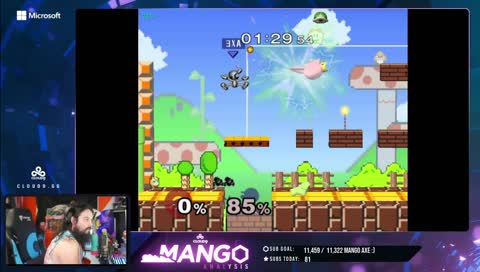 mang0 - MangoPuff69 with a flashy combo, Hits the REBOUND off of the Mushroom Kingdom Block!!!