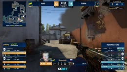 s1mple - 1vs2 clutch (T - bomb planted after 1 clutch kill) to tie the map at 14 rounds each