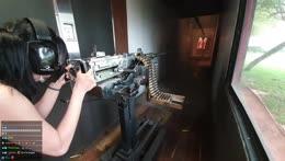 Jinnytty firing a M73 machine gun (50 Cal)