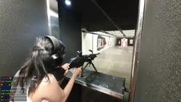 Jinnytty shooting a Full Auto M249 SAW