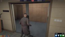 The elevator door was opening