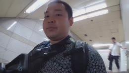 Korea D-3. Sweat, Man slips on stairs! I think that hurt lol 😂