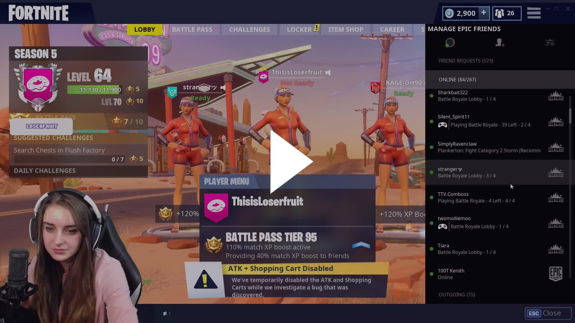 Tilting Lufu because gamertag is different from Epic name fruitFeels