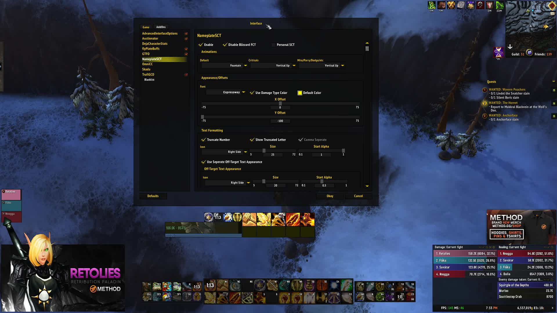 Narcolies - Scrolling Combat Text Settings - Twitch