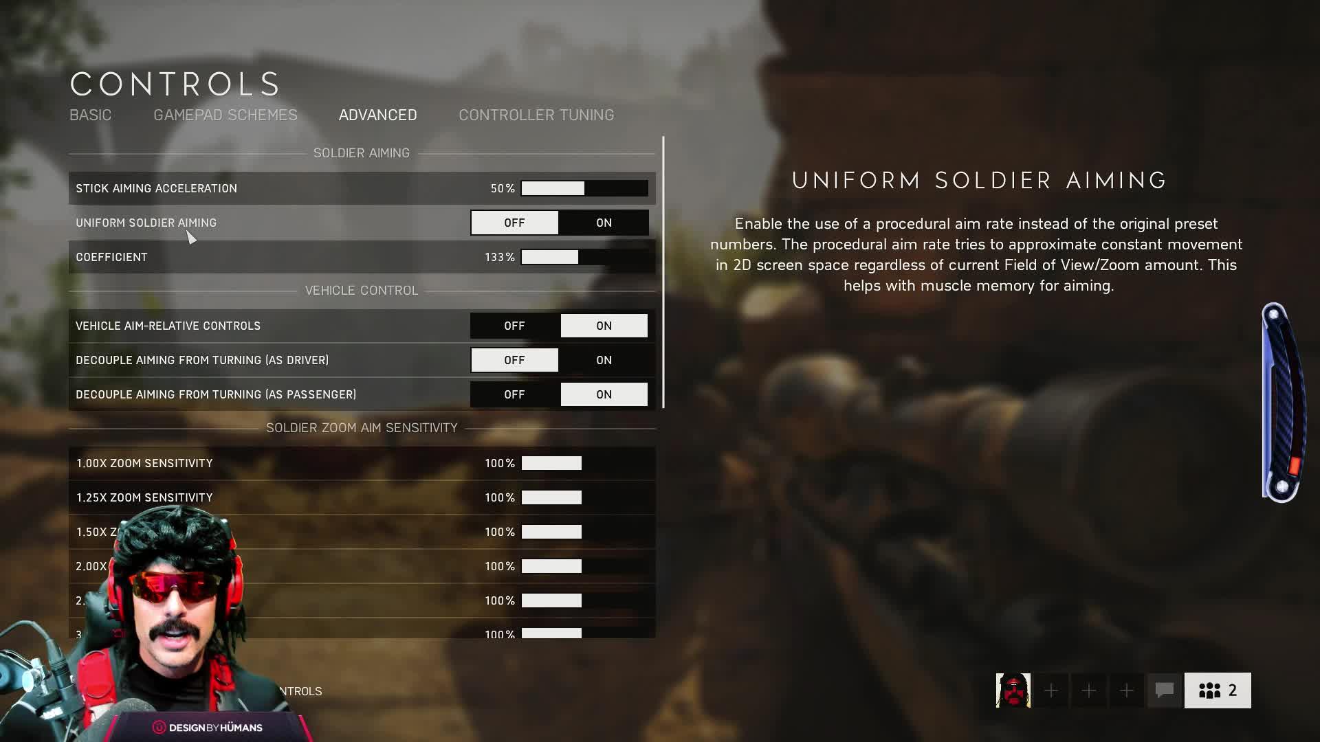 Dr Disrespect on advance settings of Battlefield 5