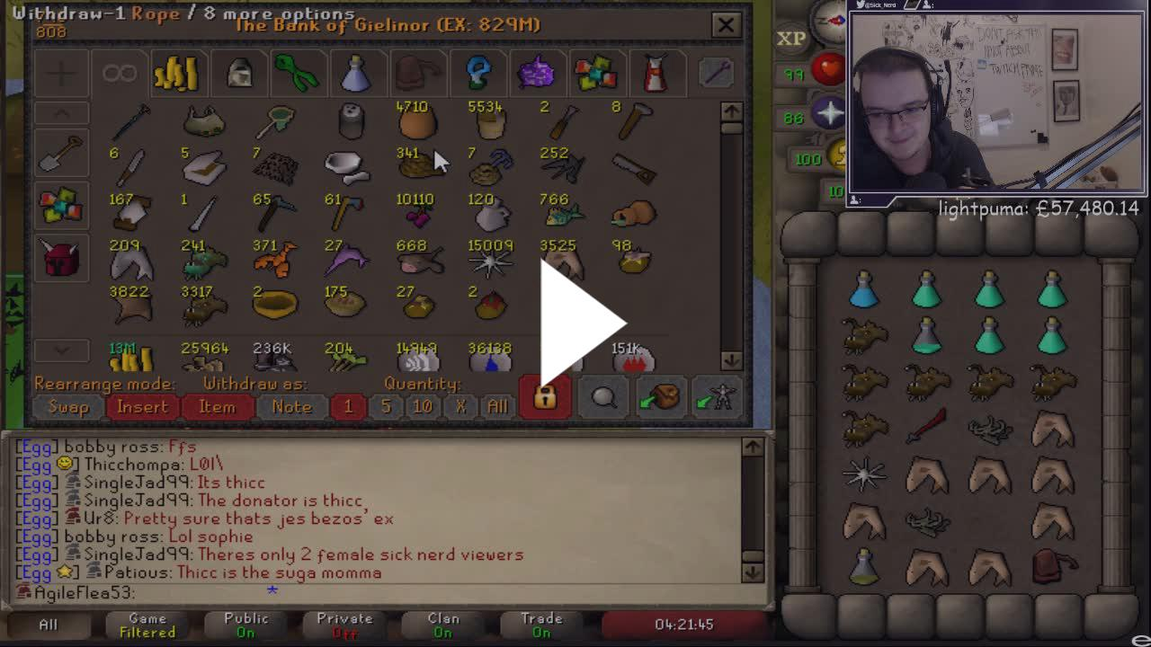 A Twitch streamer that plays Runescape was donated 20 Bitcoins a few