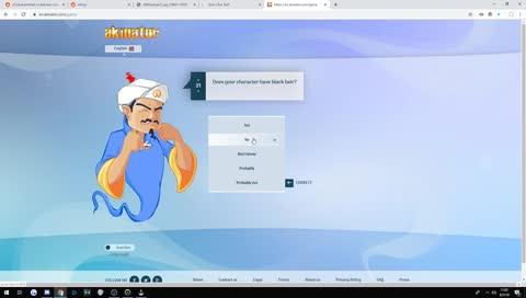 Moxy tries guessing himself on Akinator