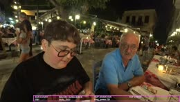Andy's dad teaches chat an authentic Greek sentence.