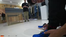 Trying on the shoes