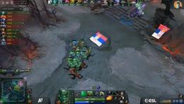 Radiant dives highground. Tinker gets triple kill