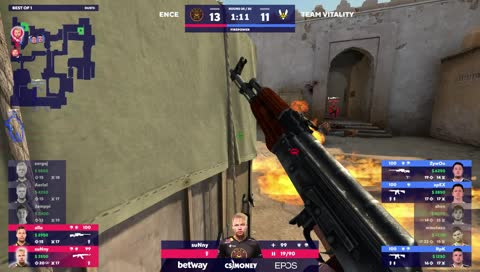 suNny - 4 AK kills on the bombsite B offensive to turn a 2vs4 situation in favor of ENCE (Part 2/2)