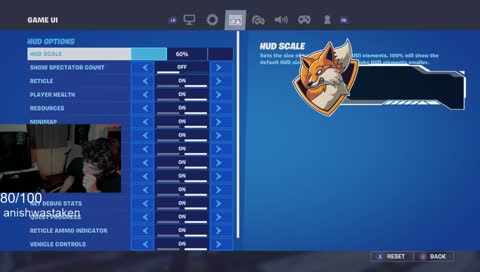 Console Settings as of 21/09/20