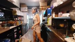 HOT GIRL SHORT DRESS PICKS UP SOMETHING ON FLOOR