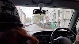 climbing tall hills in tims car ,irland
