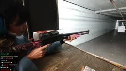 soy korean girl trys real american gun