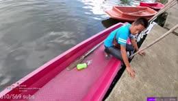 Calmly entering a boat