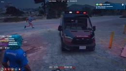 BJ gets in the Ambulance