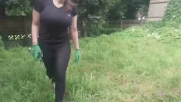 mowing lawn with paper scissors