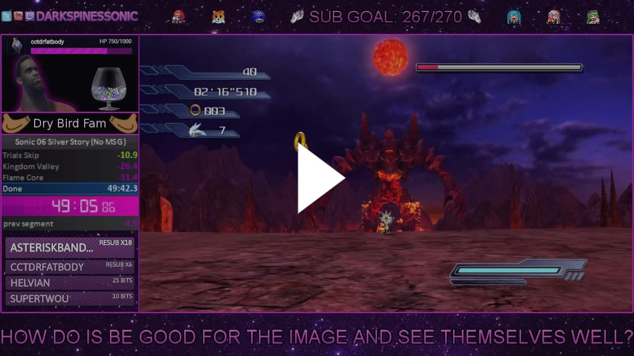 DarkspinesSonic - Silver Story No MSG in 49:09 - Twitch