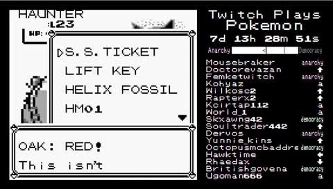 Twitch Plays Pokemon (Red) 1d11h25m ~ 2d4h32m (earliest available footage)