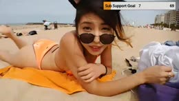 JP/EN🧡 Japanese girl at Beach! tanning n exprole !plans🧡